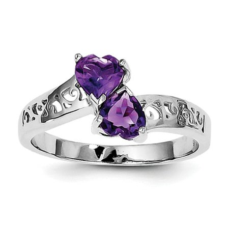 Sterling Silver Rhodium Amethyst Heart Ring. Gem Wt- - Amethyst Double Heart