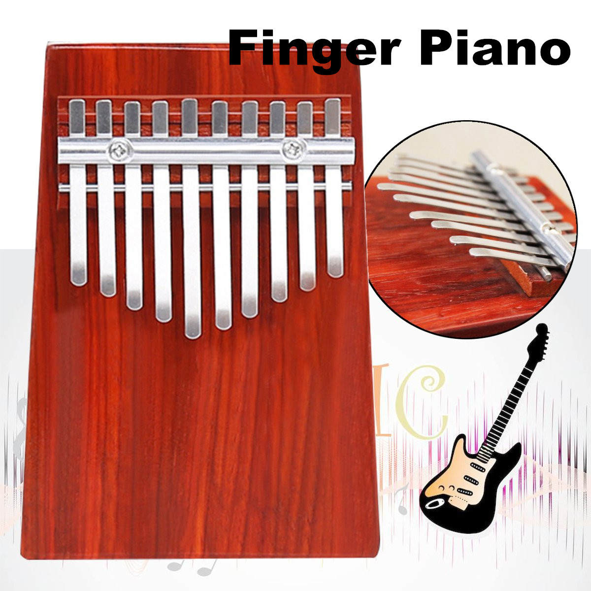 10 Key Kalimba Thumb Piano Finger Wood Percussion African Musical Instrument Toy