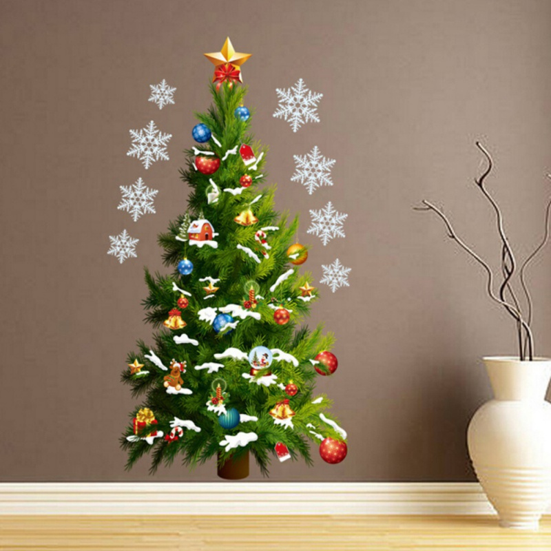 ENJOY Hot Merry Christmas Tree Snowflakes Stars Gifts Home Decor Vinyl Wall Stickers