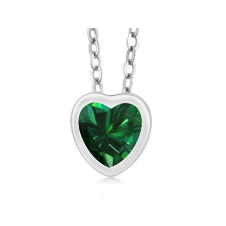 0.68 Ct Heart Shape Green Nano Emerald 925 Sterling Silver Pendant With Chain