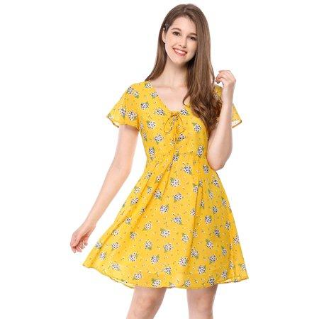 V-neck A-line Dress (Women's Floral A-Line Lace-up V-Neck Chiffon Dress Yellow (Size XS / 2))