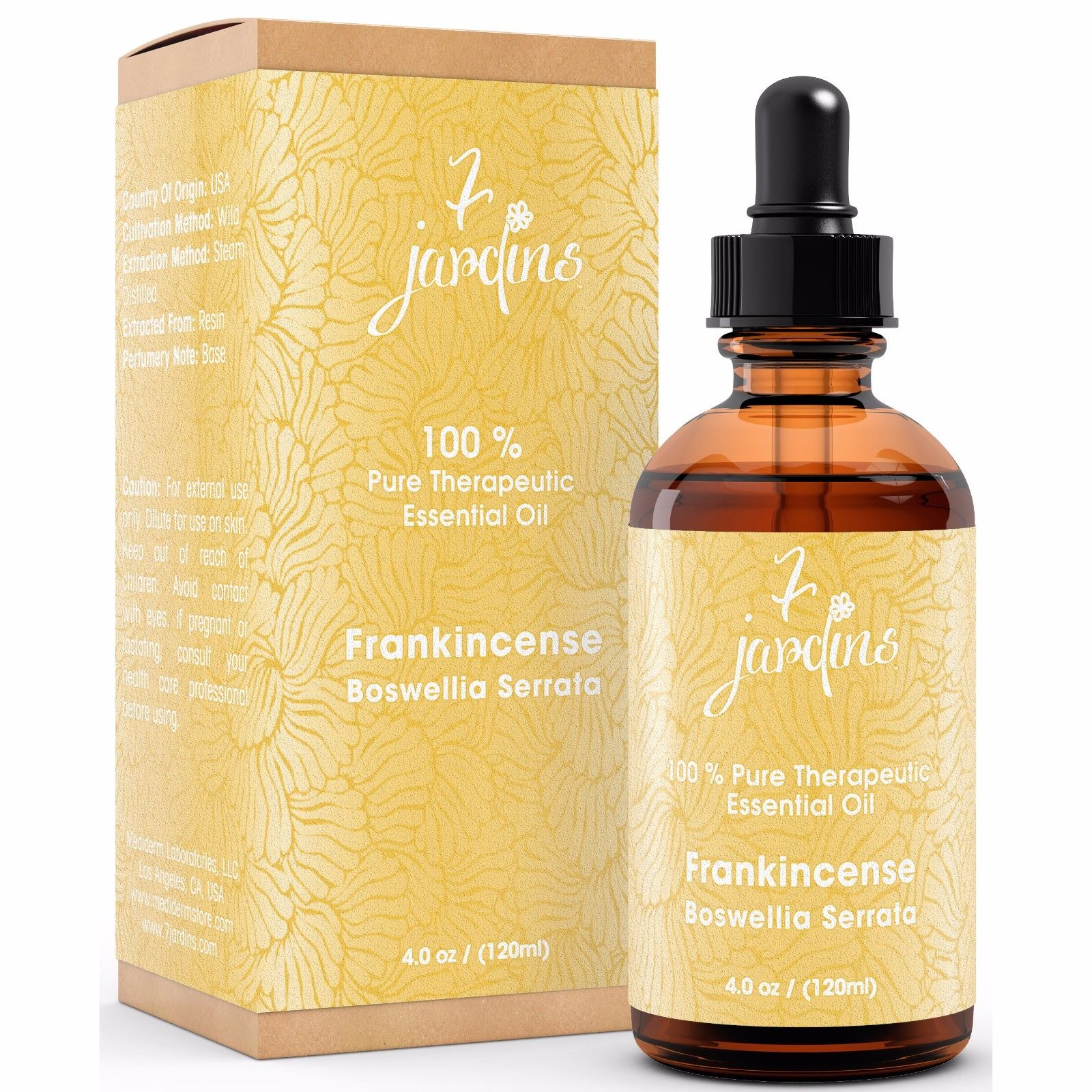 Premium Frankincense 100% Natural Therapeutic Essential Oil by 7 Jardins - 120ml