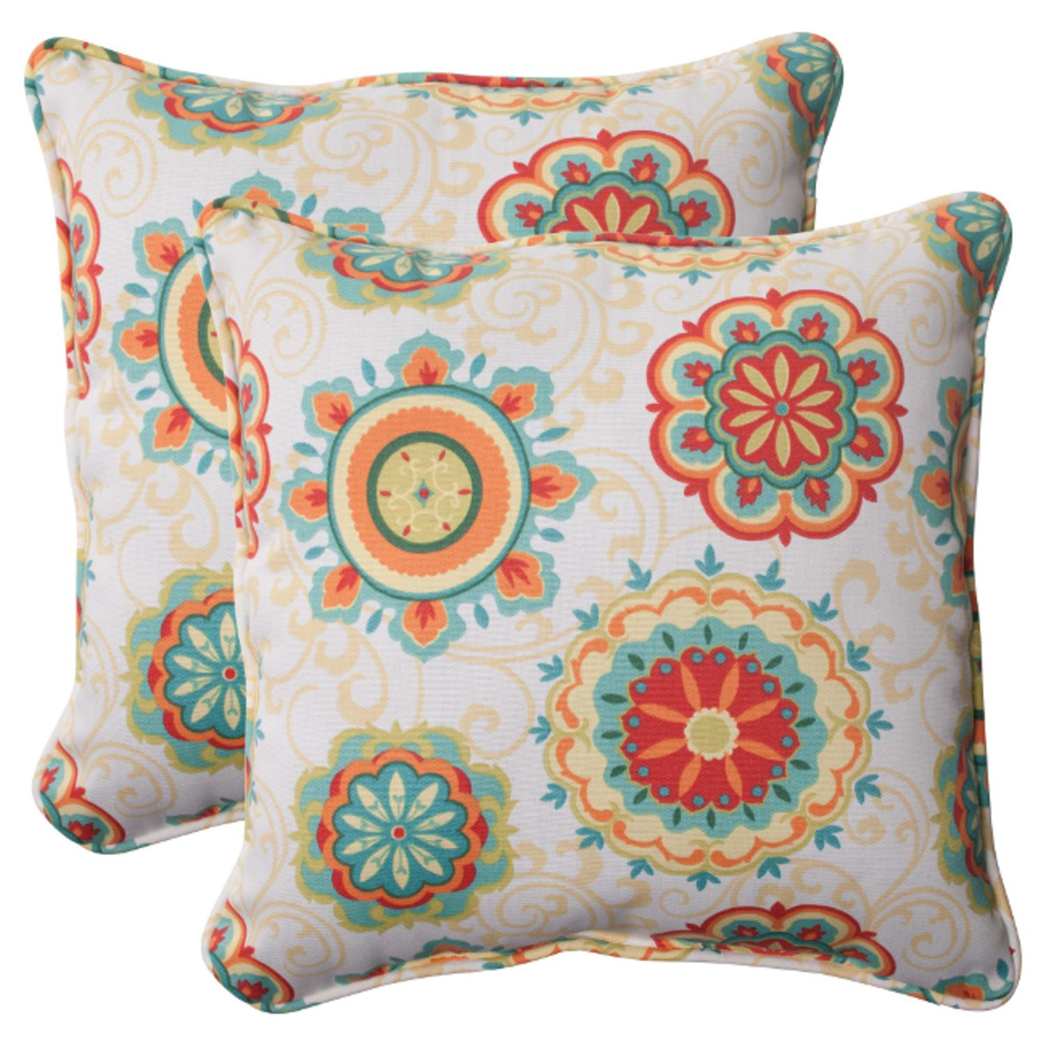 Set of 2 Retro Floral Medallion Outdoor Patio Corded Square Throw Pillows 18.5""