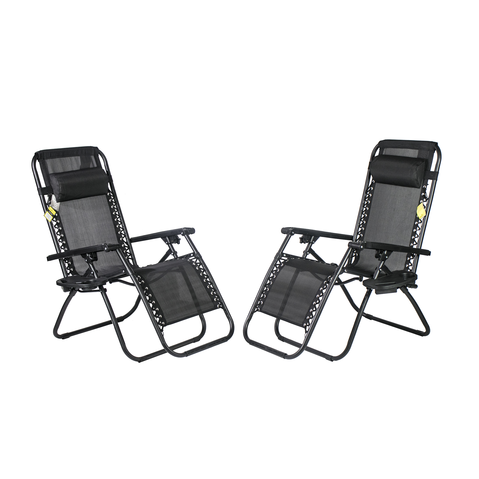 Backyard Expressions Zero Gravity Chair w/ Pillow and Cupholder - 2 Pack
