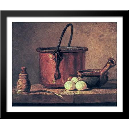 Still Life with Copper Cauldron and Eggs 34x28 Large Black Wood Framed Print Art by Jean Baptiste Simeon Chardin (Large Cauldron)