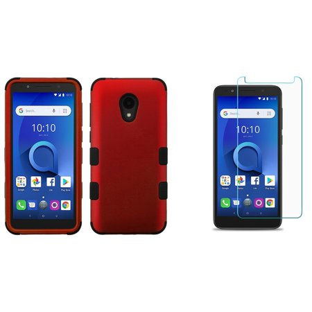 Bemz Accessory Bundle Designed for Alcatel TCL LX - TUFF Hybrid (Military Grade Certified) Case (Red) with Bubble-Free Tempered Glass Screen Protector and Atom Cloth for Alcatel TCL LX