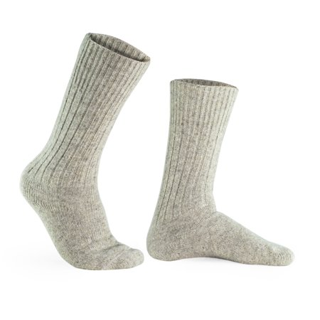 100% Pure Wool Socks - Men, Natural Gray