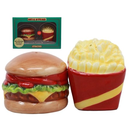 Ebros Big Burger And Golden Fries Salt And Pepper Shakers Set Fun Kitchen Dining Ceramic Magnetic Decor Figurines 4.5