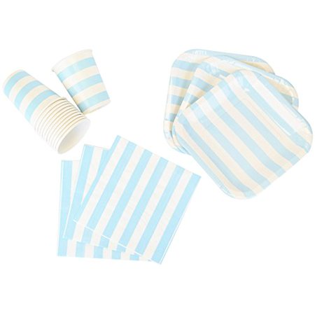 Just Artifacts Disposable Party Tableware 44 Pieces Striped Pattern Dining Set (Square Plates, Cups, Napkins) - Color: Baby Blue - Decorative Tableware for Parties, Baby Showers, and Life - Baby Shower Colors