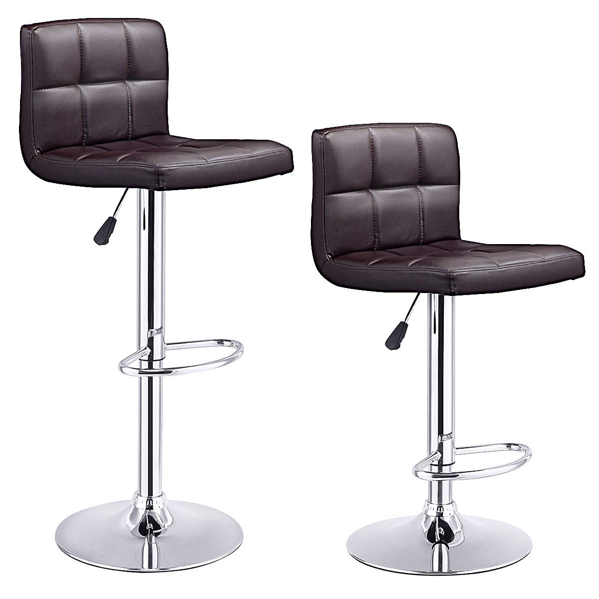 Costway Set Of 2 Bar Stools PU Leather Adjustable Barstool Swivel Pub Chairs Brown