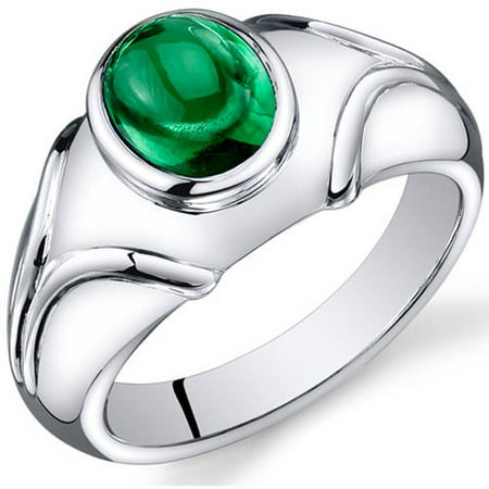 2.50 Carat T.G.W. Men's Created Emerald Rhodium-Plated Sterling Silver Engagement Ring