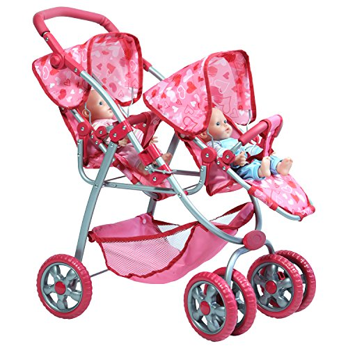 Pink Hearts Designed Deluxe Twin Stroller Set fits 2 18 inch Dolls The New York Doll Collection