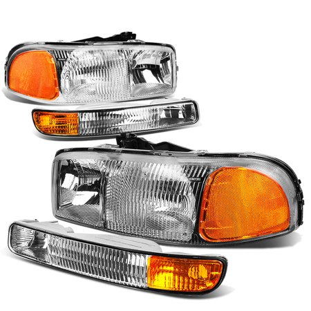 For 1999 to 2007 GMC Sierra 1500 2500 3500 / Yukon Headlight+Bumper Lamp Chrome Housing Amber Corner 01 02 03 04 05 06 4Pcs