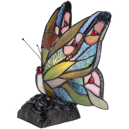 Chloe Lighting Jacy 6 Tiffany-Style 1-Light Butterfly Accent Table Lamp, 10