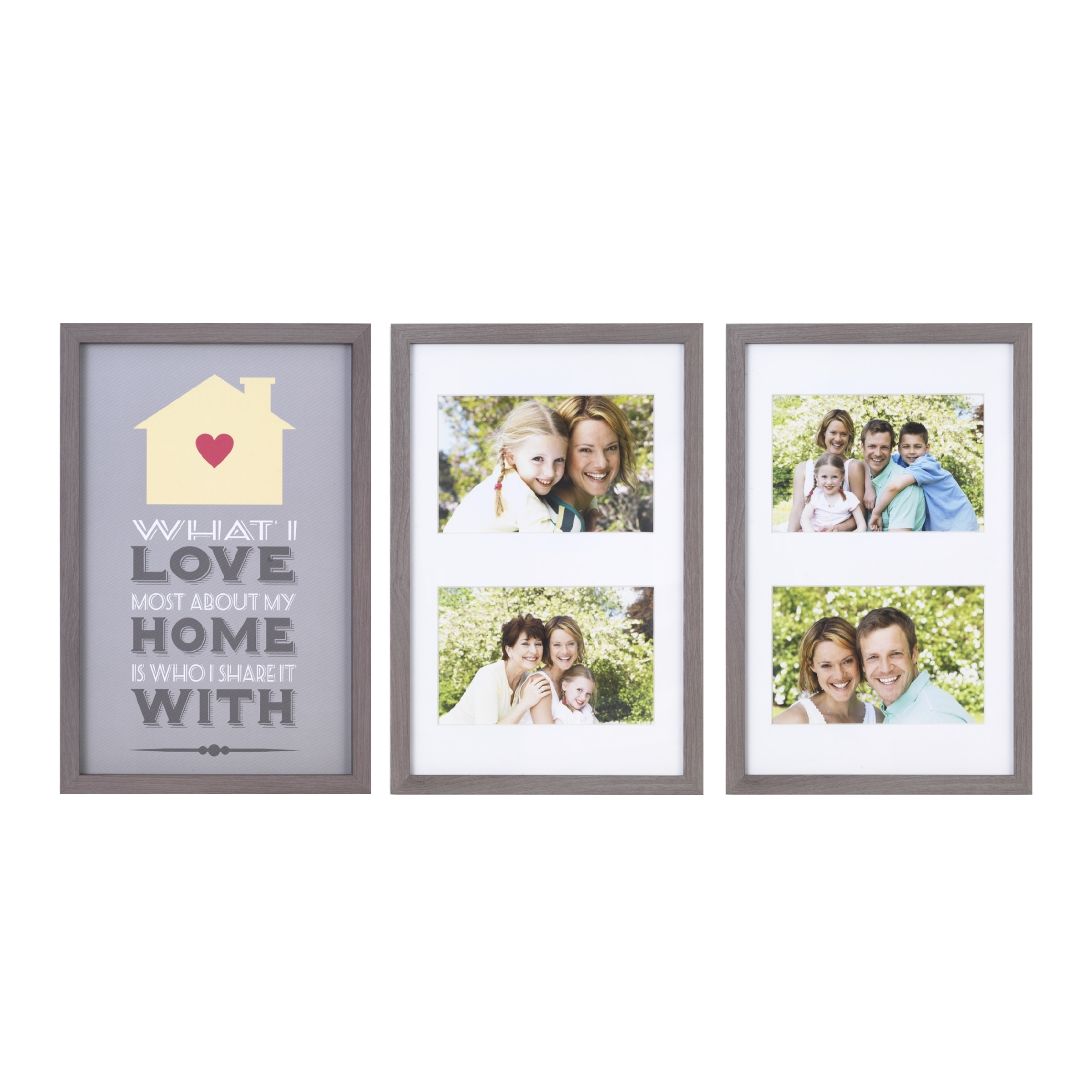 Melannco 4-Opening What I Love About My Home Set of 3 Picture Frames ...