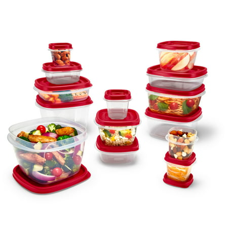 Rubbermaid Easy Find Vented Lids Food Storage Containers, 24-Piece Set Plus Bonus, Racer Red