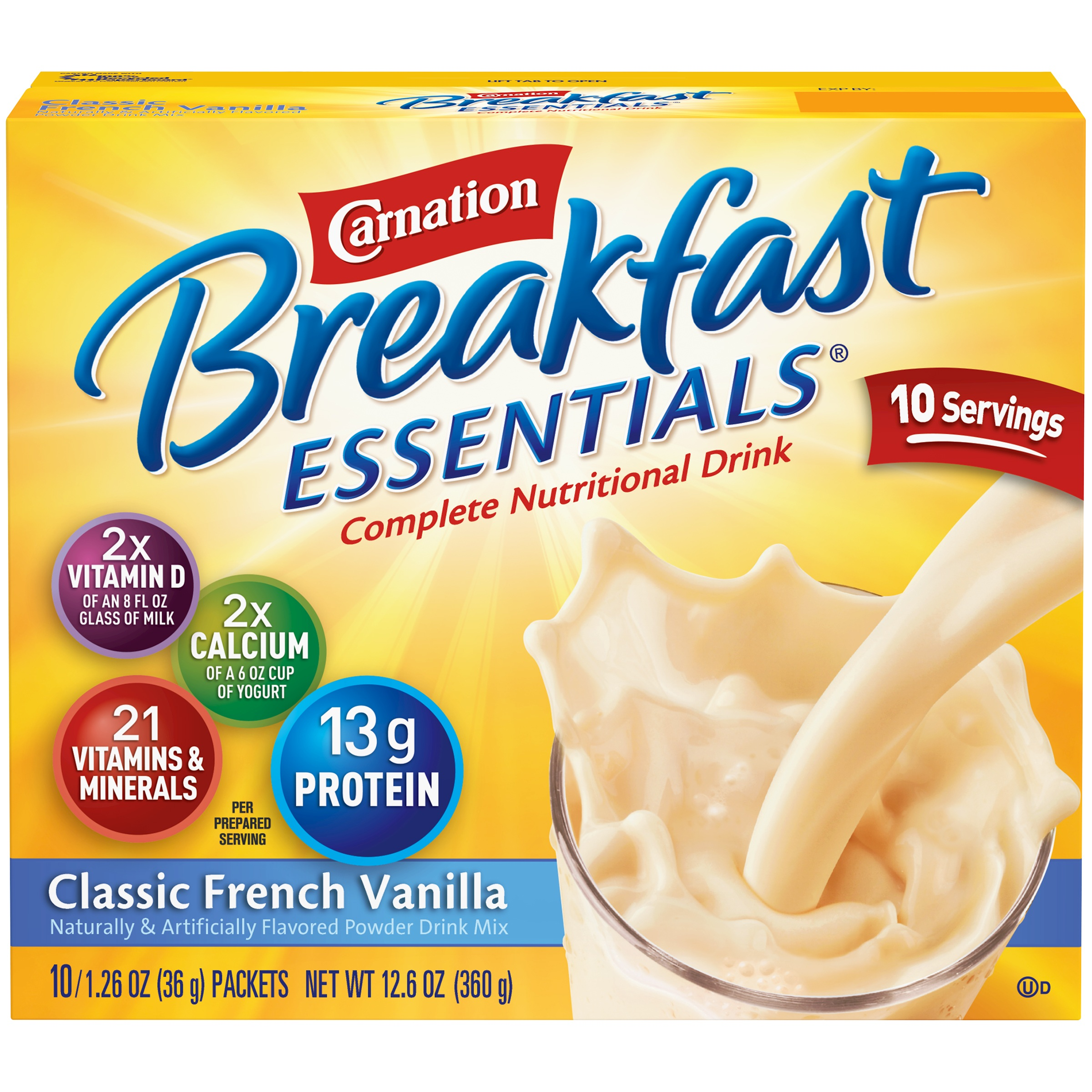 Carnation Breakfast Essentials Powder Drink Mix, Classic French Vanilla, 1.26 oz. Packets, 10 Count