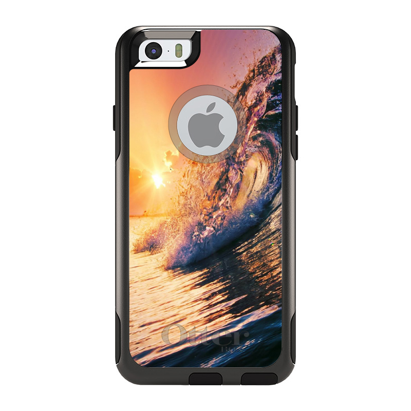 "DistinctInk™ Custom Black OtterBox Commuter Series Case for Apple iPhone 6 / 6S (4.7"" Screen) - Ocean Wave Sunset"