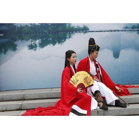 Peel-n-Stick Poster of Model Jiangnan Women Swordsman Fan Asia Poster 24x16 Adhesive Sticker Poster - Asian Fans