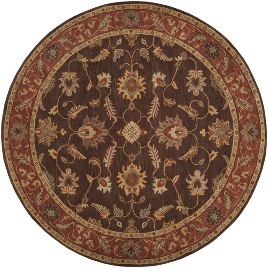 9.75' Anethancian Driftwood Brown and Red Clay Wool Round Area Throw Rug