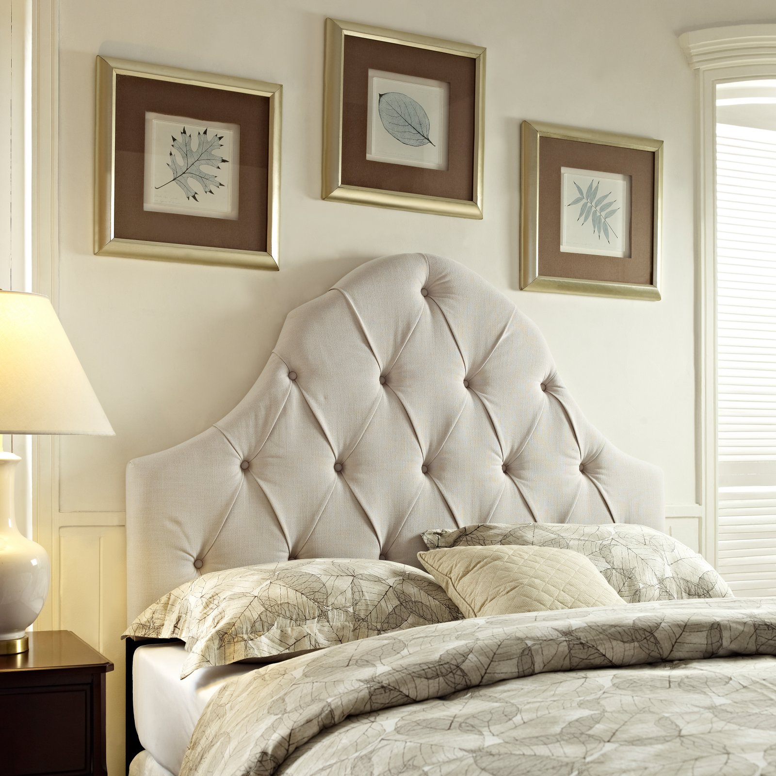 Round Top Tufted Upholstered Headboard, Multiple Sizes