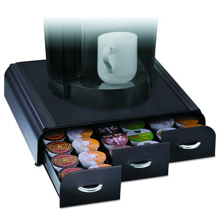 Anchor  Triple Drawer Single Serve Coffee Pod Holder With Free Milk Frother Included  Black  Holds 36 Keurig K Cup  Verismo  Dolce Gusto Cbtl    By Mind Reader