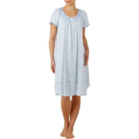 Secret Treasures Women's Flutter Short Sleeve Sleepwear Gown