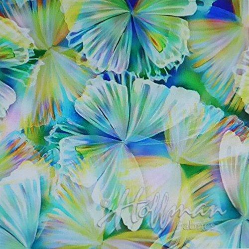 Fluttering By Mariposa Butterflies  Digital Spectrum Cotton Fabric by Hoffman of CA