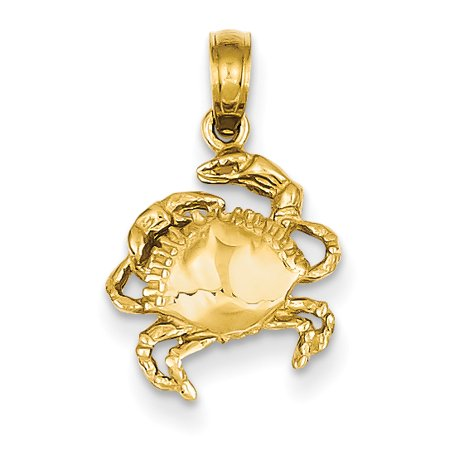 14k Yellow Gold Crab Pendant Charm Necklace Sea Life Lobster Fine Jewelry For Women Gift Set