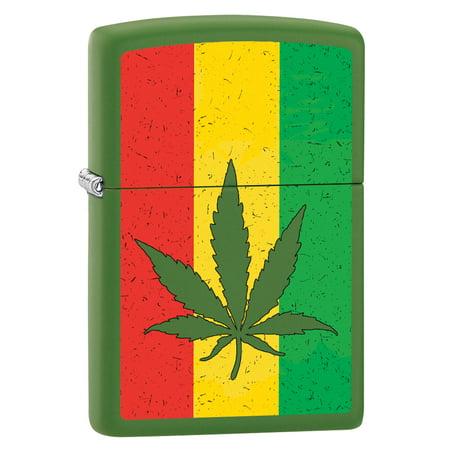 Zippo Lighter: Weed Leaf on Rastafari Flag - Moss Green Matte 79872