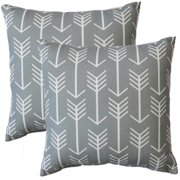 FHT Premiere Home Arrow Cool Grey 17-inch Throw Pillow - Set of 2