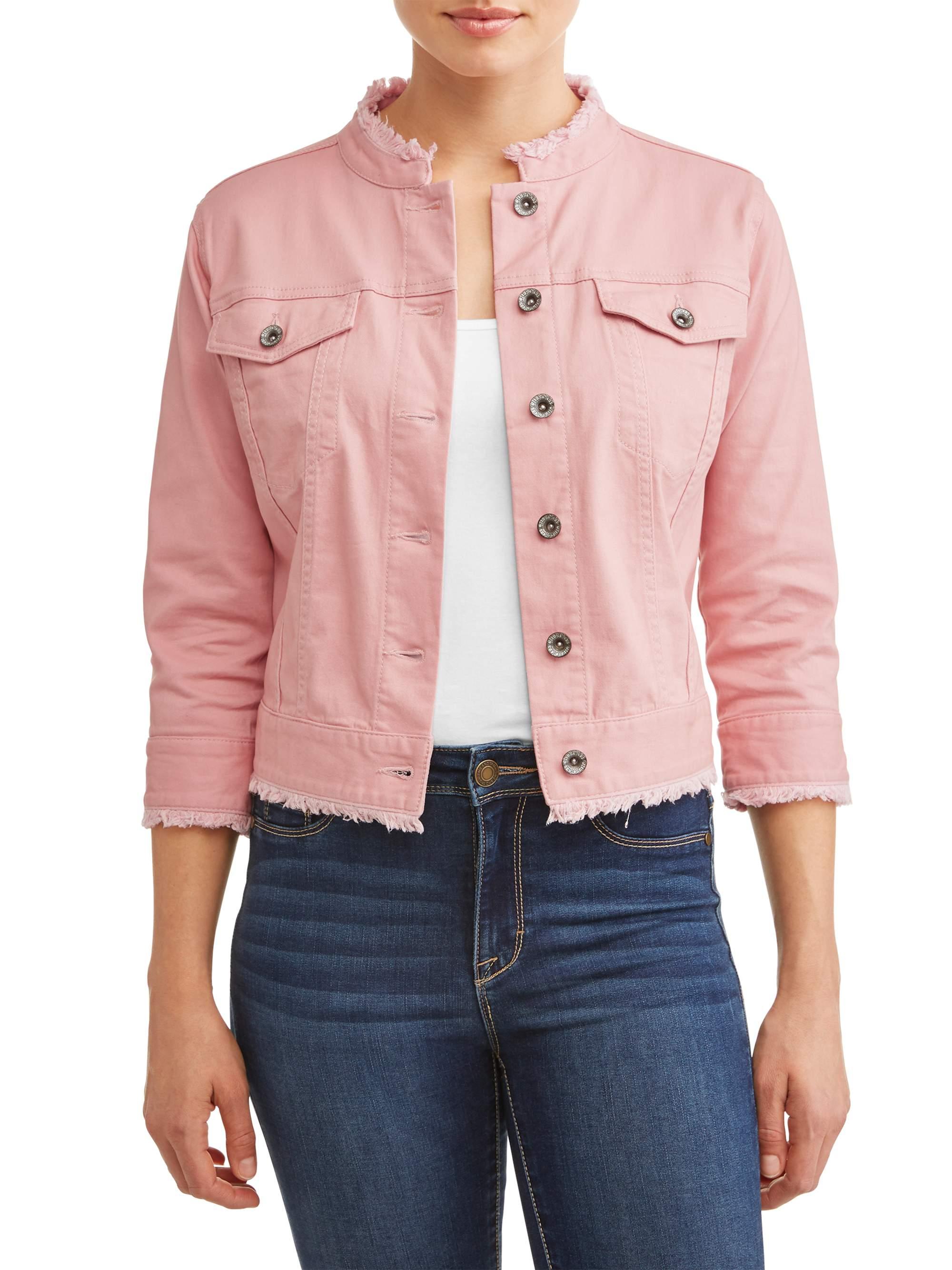 Women's Cropped Denim Jacket with Fray Hem