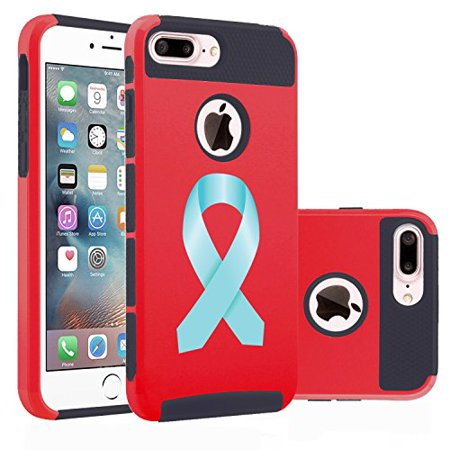 Red Awareness Ribbon (For Apple (iPhone 8 Plus) Shockproof Impact Hard Soft Case Cover Prostate Cancer Color Awareness Ribbon)