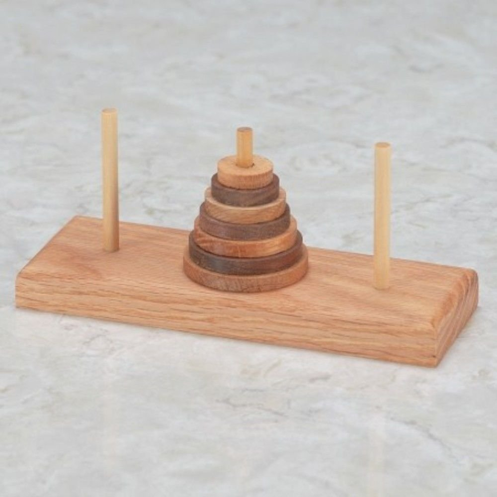 Tower of Hanoi Wooden Puzzle, Difficulty 9 of 10 By Puzzle Master by