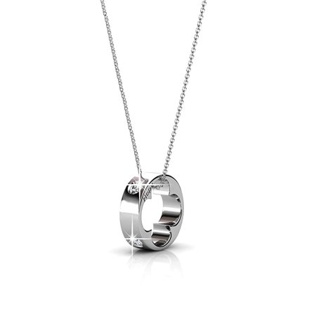 Cate & Chloe Malinda 18k White Gold Swarovski Pendant, Heart, Necklace, Crystal Necklace, Silver Necklace, Ring Necklace, Shamrock Necklace, Chain Necklace, Jewelry for Women (Silver) - msrp $130