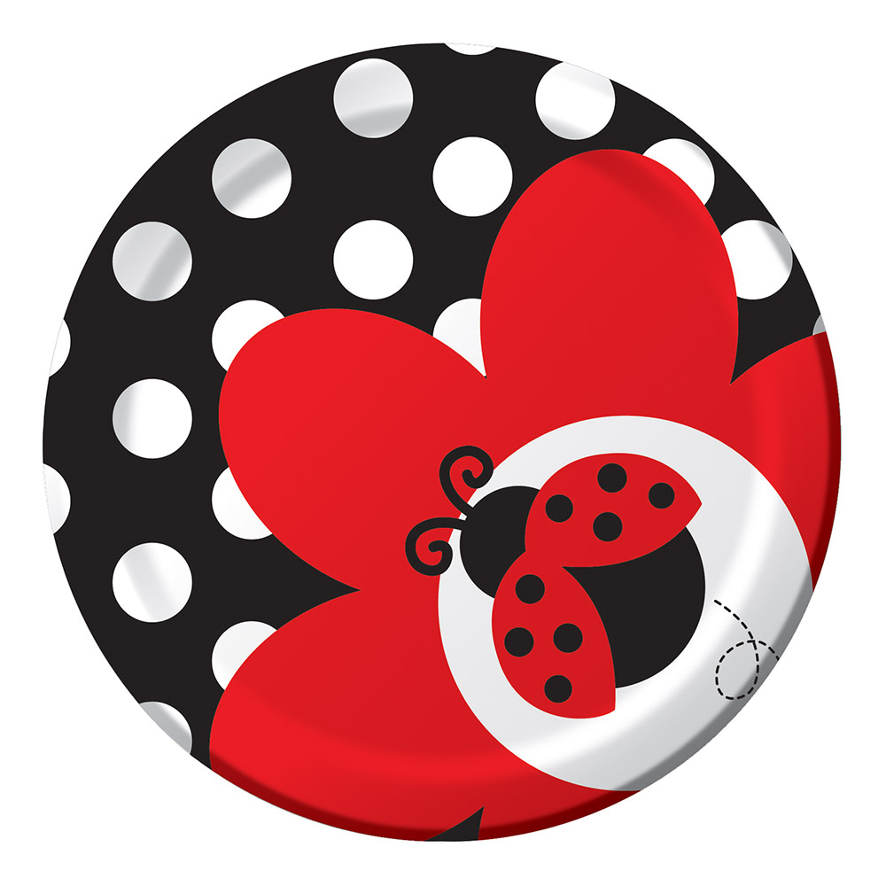 8 Pack 6 7/8 Round Luncheon Plate Ladybug Fancy