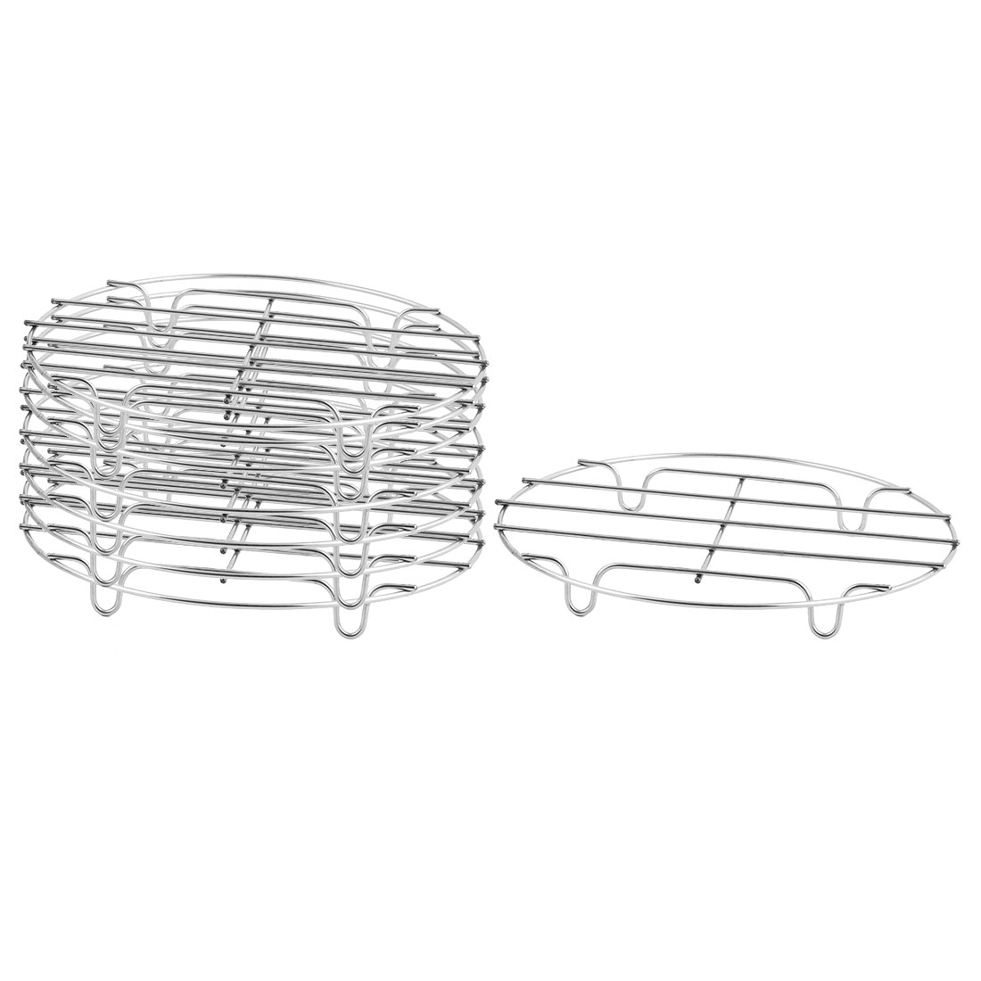 Kitchen Stainless Steel Pot Holder Cooking Tool Steamer Rack Silver Tone 8 Pcs
