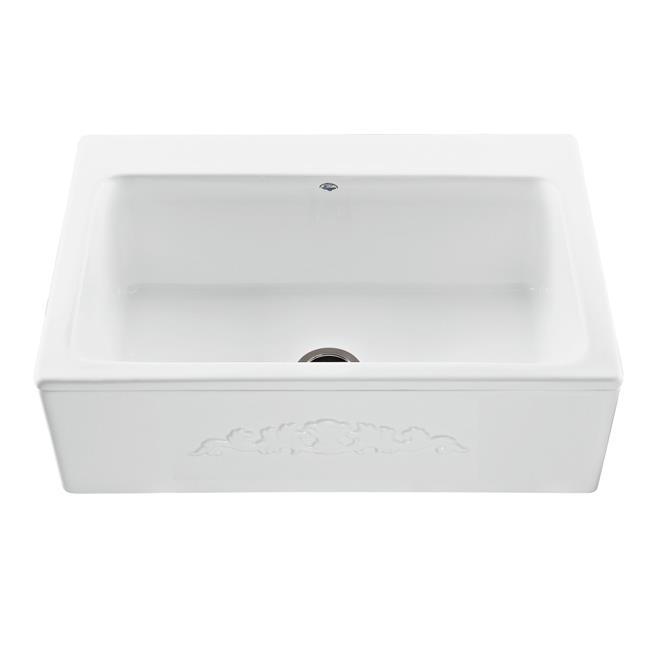 Single Basin Farmhouse Kitchen Sink With Faucet 44 White Walmart Com Walmart Com