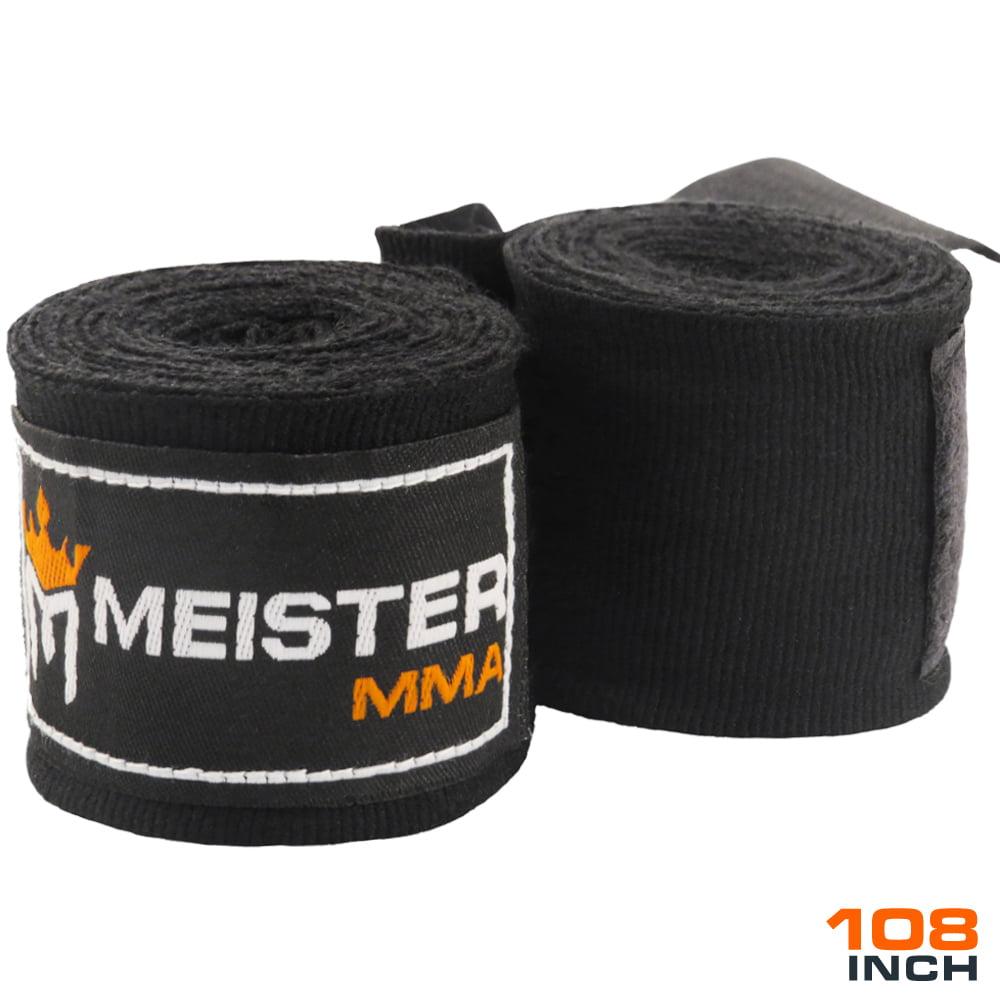 """Meister Junior 108"""" Semi-Elastic MMA Hand Wraps (Pair) - Black"""