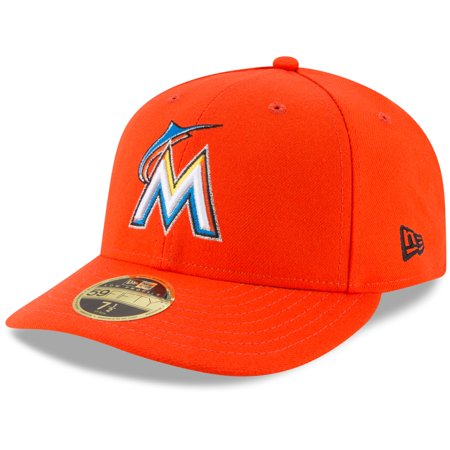 Miami Marlins New Era Road Cap Authentic Collection On-Field Low Profile 59FIFTY Fitted Hat - Orange