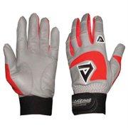 Akadema AKD-BGG406-00 Adult Gray Batting Gloves - Red