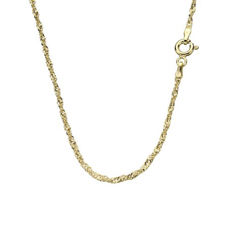 18k Italian Necklace (18k Gold-Flashed Sterling Silver Singapore Nickel Free Chain Necklace Italy,)