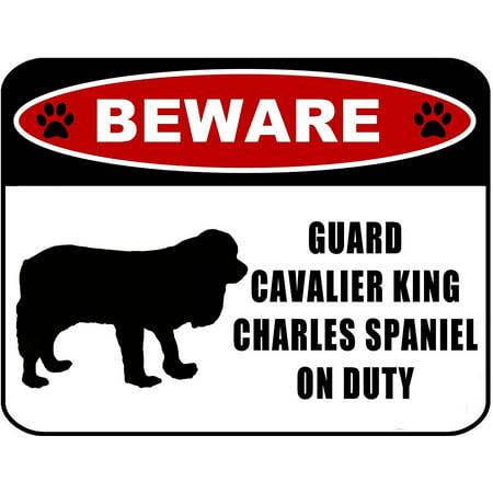 Beware Guard Cavalier King Charles Spaniel (silhouette) on Duty 11.5 inch x 9 inch Laminated Dog - Spaniel Silhouette