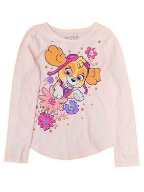 Paw Patrol Girls Long Sleeve Pink Skye T-Shirt Puppy Dog Tee Shirt