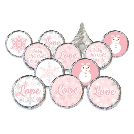 Winter Wonderland Party Stickers, 324ct - Pink Snowflake Winter Wonderland Decorations Snowman Party Supplies for Baby Its Cold Outside Baby Shower or Bridal Shower - 324 Count Stickers - Outside Party Decorations