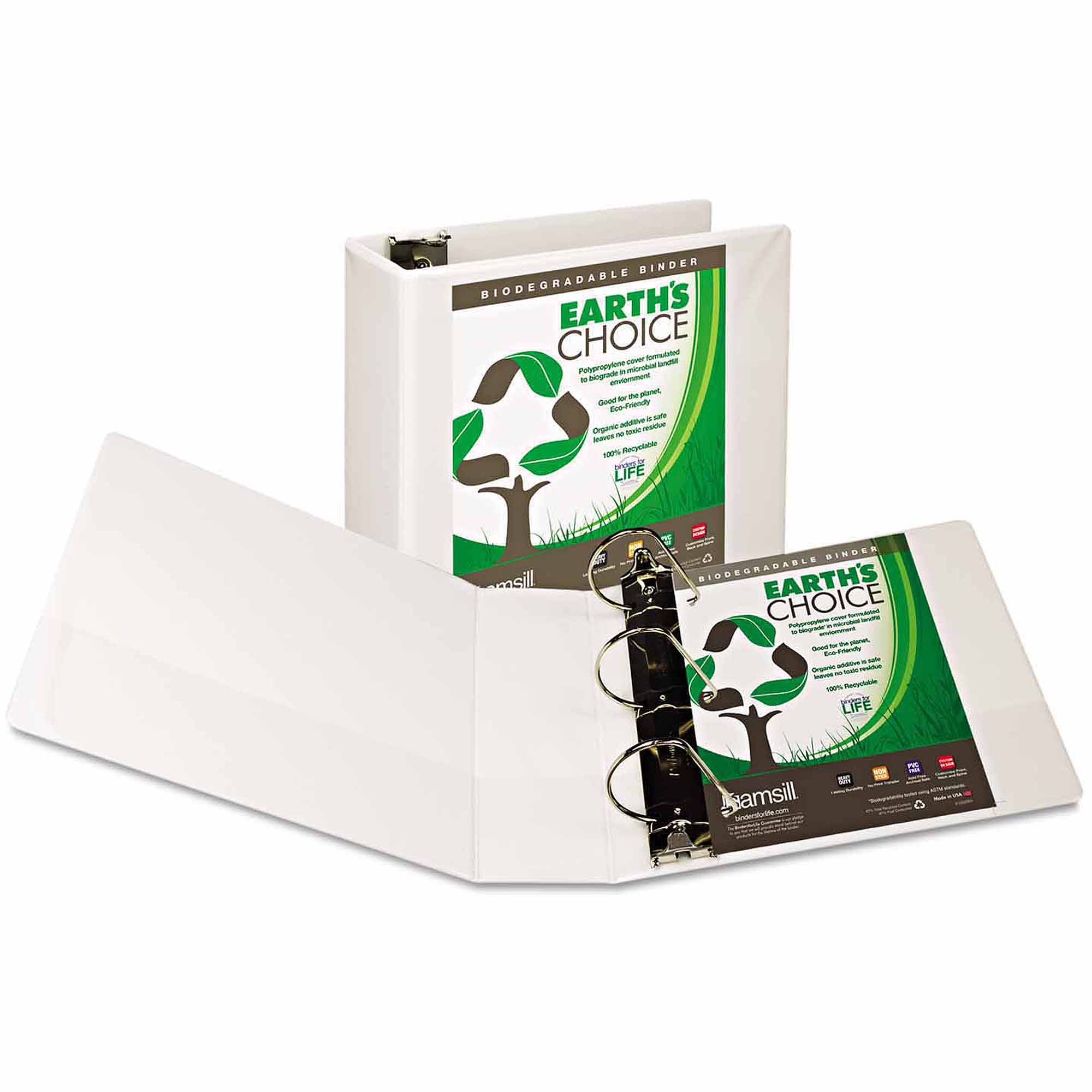 "Samsill Earth's Choice Biodegradable Angle-D Ring View Binder, 4"" Capacity, White"