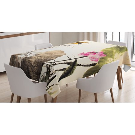 Art Tablecloth, Bird Jumping into a Lotus in a Gloomy Setting Circle of Life Chinese Culture, Rectangular Table Cover for Dining Room Kitchen, 52 X 70 Inches, Cream Taupe Hot - Pink And White Table Settings