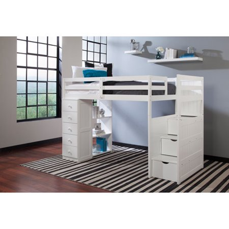 Canwood Mountaineer Twin Loft Bed Storage Tower Built Stairs