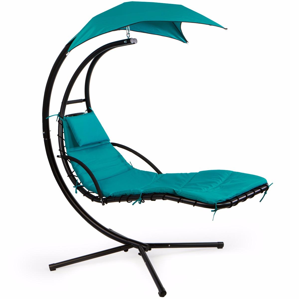 patio swing chair lounger hammock sun canopy, blue - walmart