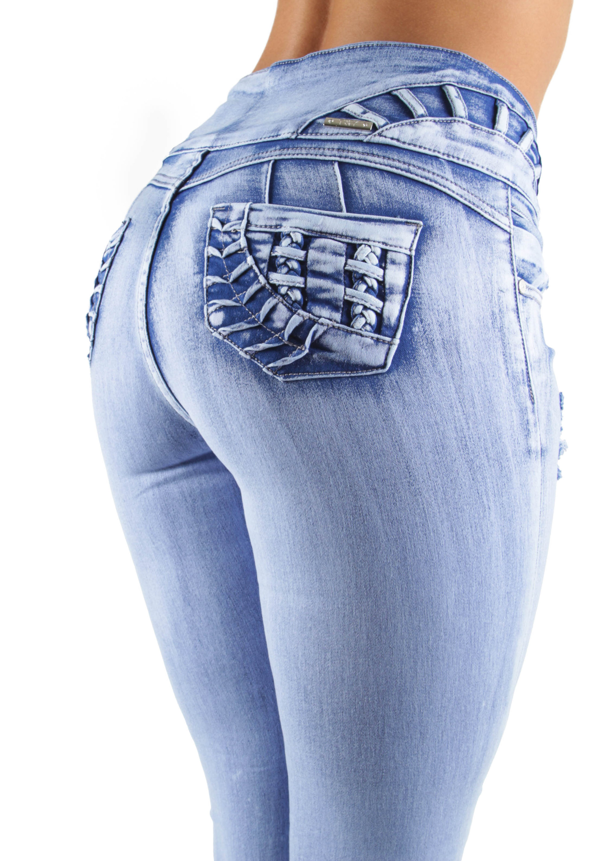 Details about  /Women/'s Juniors Butt Lift Push Up Mid Waist Ripped Distressed Skinny Jeans